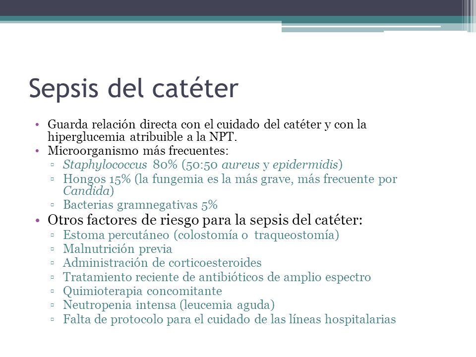 Sepsis del catéter Guarda relación directa con el cuidado del catéter y con la hiperglucemia atribuible a la NPT. Microorganismo más frecuentes: Staph