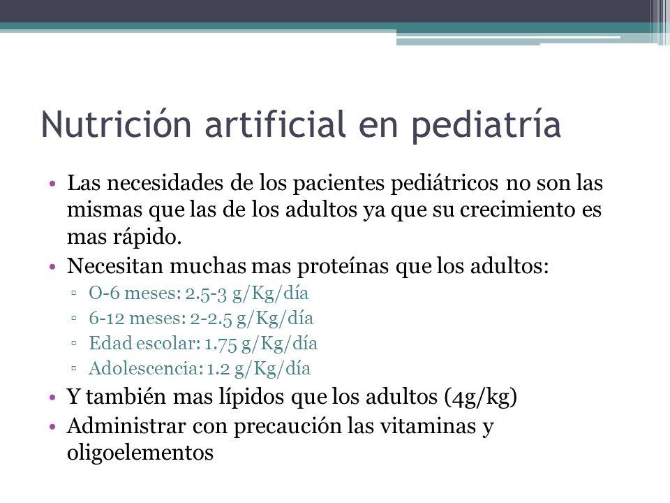 Nutrición artificial en pediatría Las necesidades de los pacientes pediátricos no son las mismas que las de los adultos ya que su crecimiento es mas r