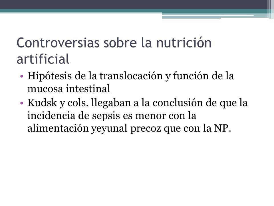 Controversias sobre la nutrición artificial Hipótesis de la translocación y función de la mucosa intestinal Kudsk y cols. llegaban a la conclusión de