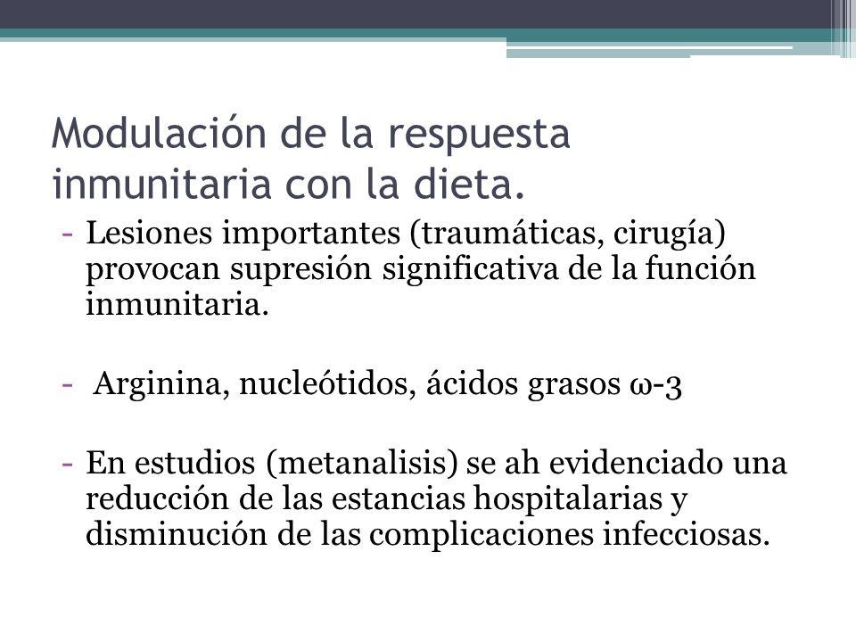 Modulación de la respuesta inmunitaria con la dieta. -Lesiones importantes (traumáticas, cirugía) provocan supresión significativa de la función inmun