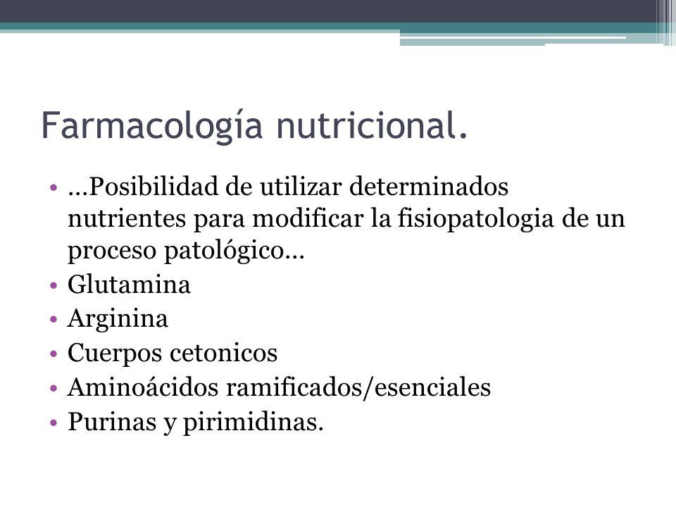 Farmacología nutricional....Posibilidad de utilizar determinados nutrientes para modificar la fisiopatologia de un proceso patológico... Glutamina Arg
