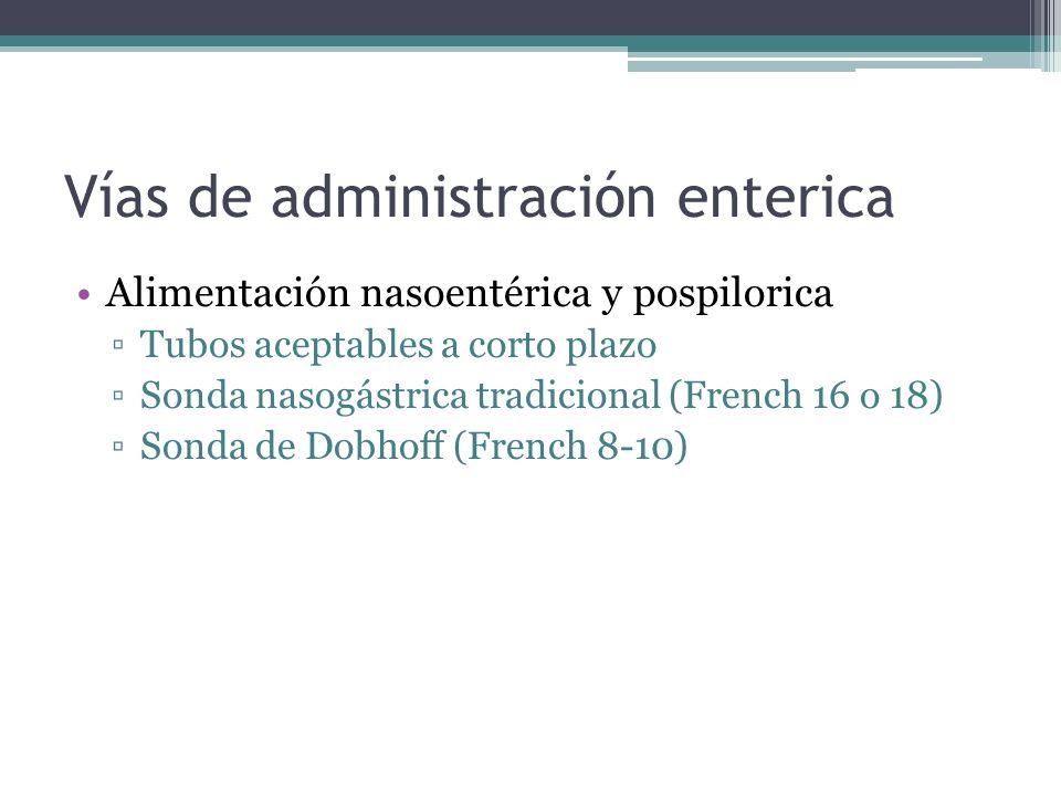Vías de administración enterica Alimentación nasoentérica y pospilorica Tubos aceptables a corto plazo Sonda nasogástrica tradicional (French 16 o 18)