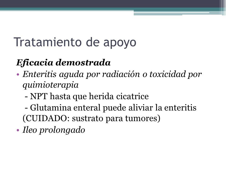 Tratamiento de apoyo Eficacia demostrada Enteritis aguda por radiación o toxicidad por quimioterapia - NPT hasta que herida cicatrice - Glutamina ente