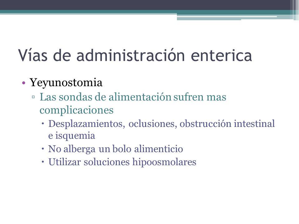 Vías de administración enterica Yeyunostomia Las sondas de alimentación sufren mas complicaciones Desplazamientos, oclusiones, obstrucción intestinal