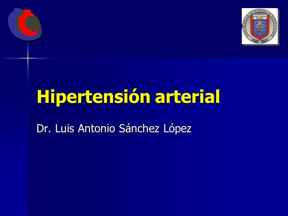 CLASIFICACIÓN Y CRITERIOS DIAGNÓSTICOS Presión arterial óptima: <120/80 mm de Hg Presión arterial óptima: <120/80 mm de Hg Presión arterial normal: 120-129/80 - 84 mm de Hg Presión arterial normal: 120-129/80 - 84 mm de Hg Presión arterial normal alta: 130-139/ 85- 89 mm de Hg Presión arterial normal alta: 130-139/ 85- 89 mm de Hg Hipertensión arterial: Hipertensión arterial: Etapa 1: 140-159/ 90-99 mm de Hg Etapa 1: 140-159/ 90-99 mm de Hg Etapa 2: 160-179/ 100-109 mm de Hg Etapa 2: 160-179/ 100-109 mm de Hg Etapa 3: >180/ >110 mm de Hg Etapa 3: >180/ >110 mm de Hg