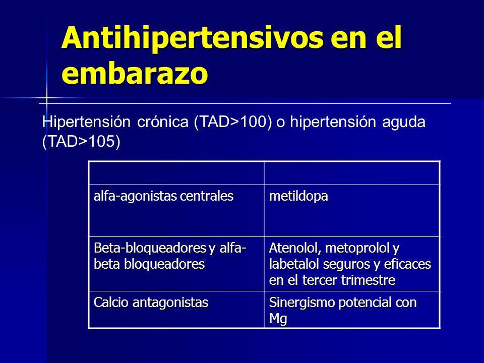 Hipertensión crónica (TAD>100) o hipertensión aguda (TAD>105) Antihipertensivos en el embarazo alfa-agonistas centralesmetildopa Beta-bloqueadores y a