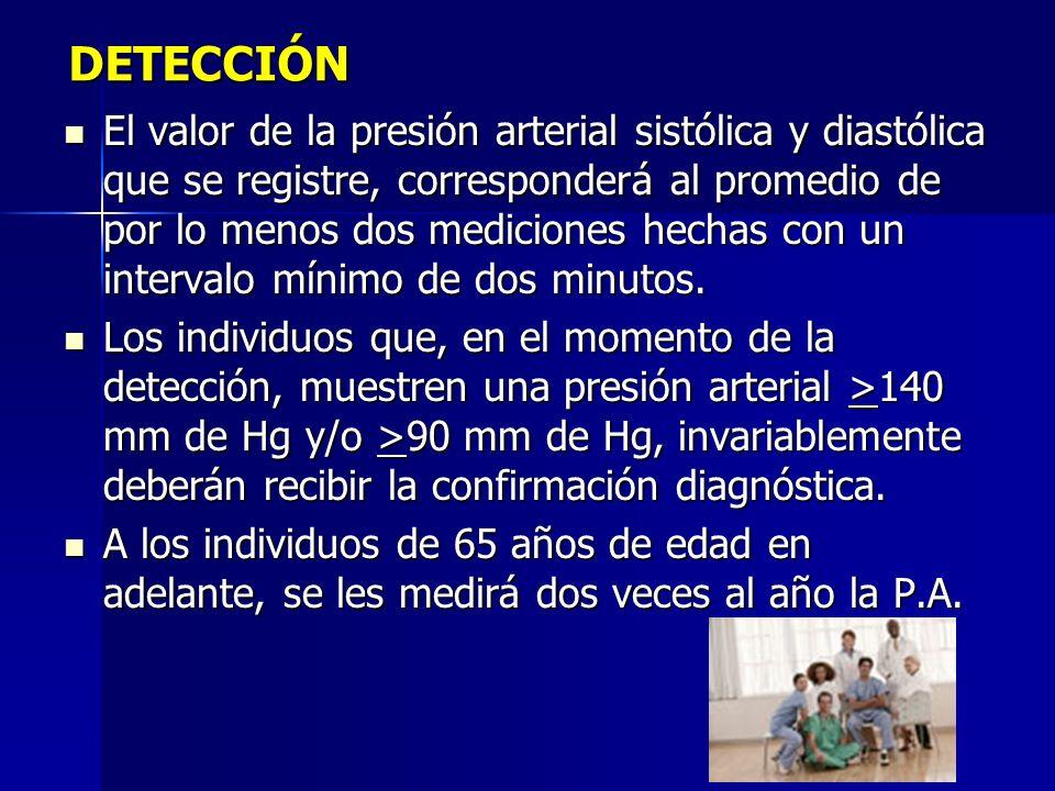 DETECCIÓN El valor de la presión arterial sistólica y diastólica que se registre, corresponderá al promedio de por lo menos dos mediciones hechas con