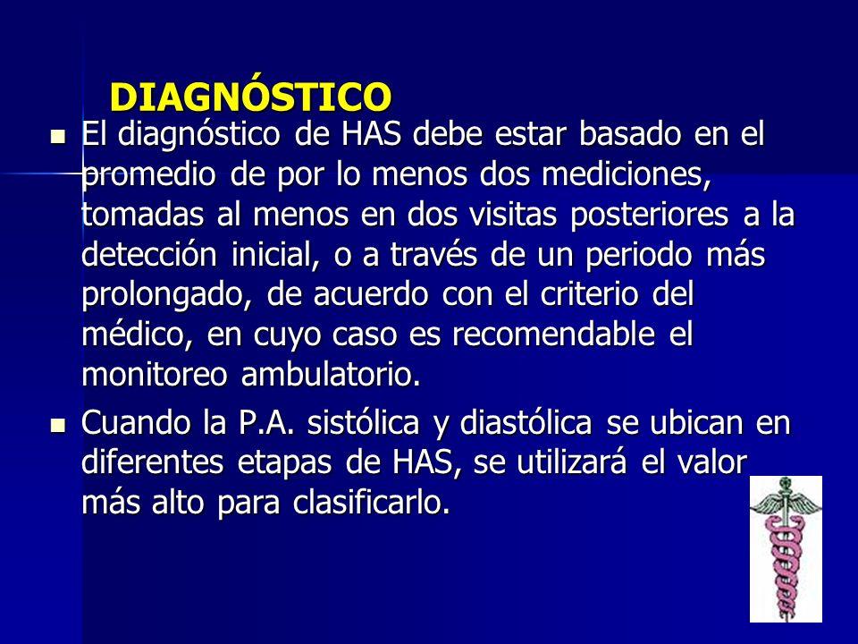DIAGNÓSTICO El diagnóstico de HAS debe estar basado en el promedio de por lo menos dos mediciones, tomadas al menos en dos visitas posteriores a la de