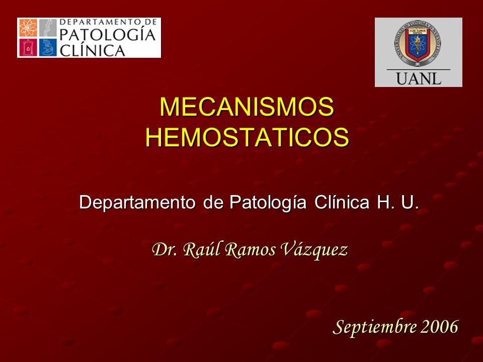 MECANISMOS HEMOSTATICOS Departamento de Patología Clínica H. U. Dr. Raúl Ramos Vázquez Septiembre 2006