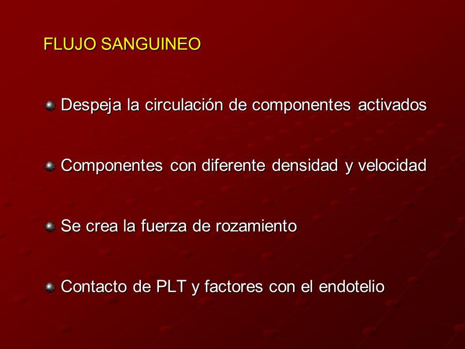 FLUJO SANGUINEO Despeja la circulación de componentes activados Componentes con diferente densidad y velocidad Se crea la fuerza de rozamiento Contact