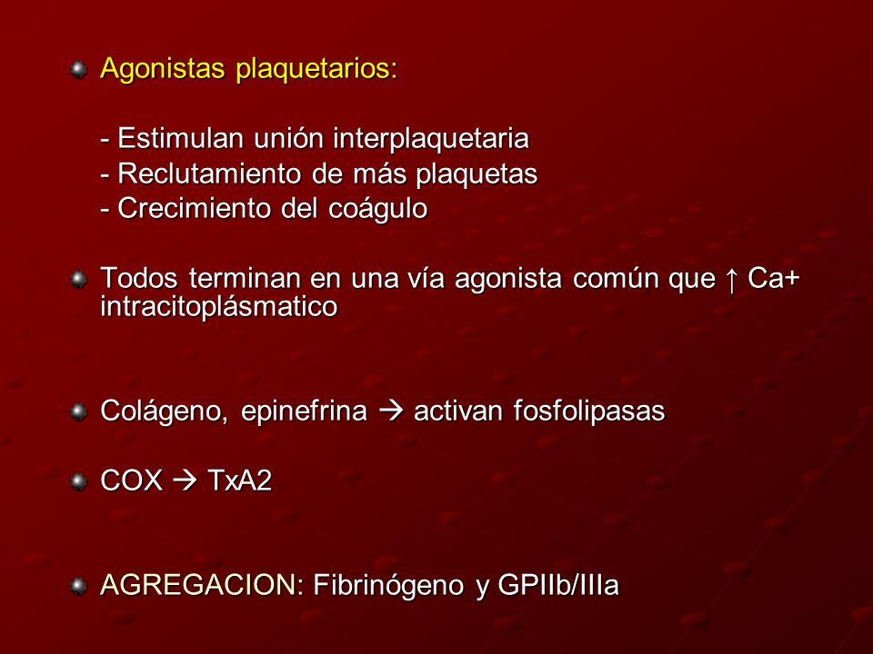 Agonistas plaquetarios: - Estimulan unión interplaquetaria - Reclutamiento de más plaquetas - Crecimiento del coágulo Todos terminan en una vía agonis