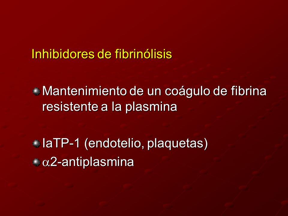 Inhibidores de fibrinólisis Mantenimiento de un coágulo de fibrina resistente a la plasmina IaTP-1 (endotelio, plaquetas) 2-antiplasmina 2-antiplasmin
