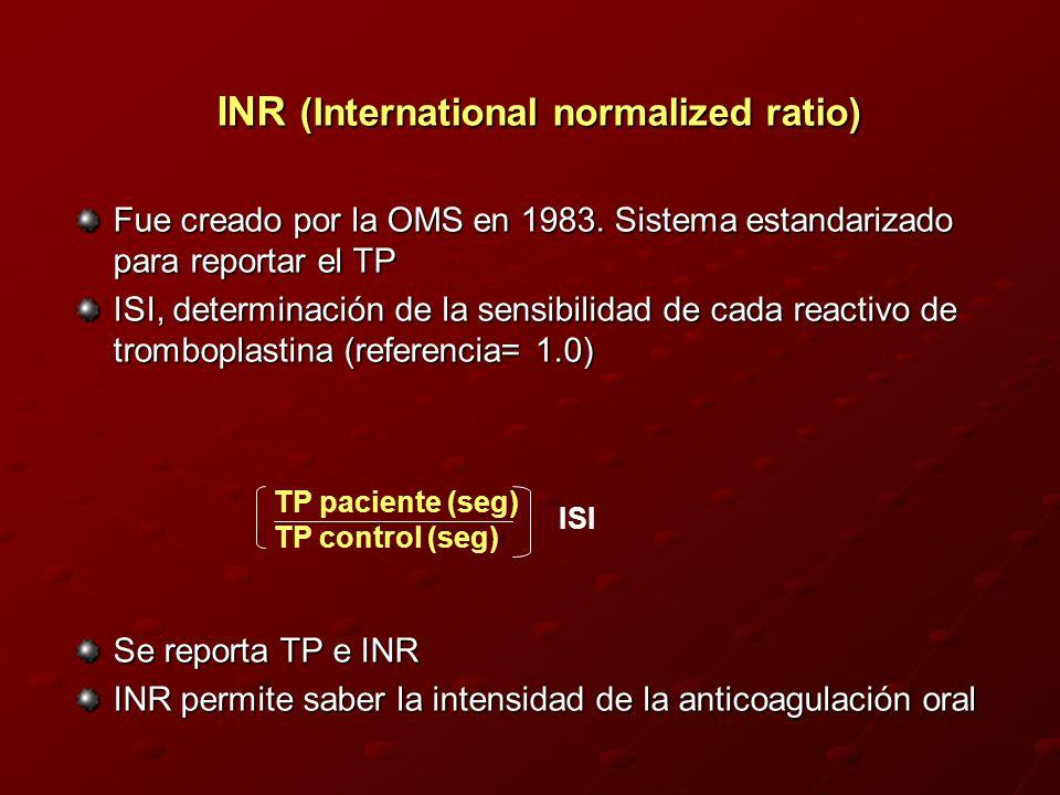 INR (International normalized ratio) Fue creado por la OMS en 1983. Sistema estandarizado para reportar el TP ISI, determinación de la sensibilidad de