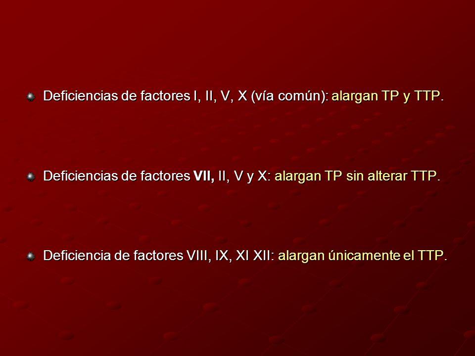 Deficiencias de factores I, II, V, X (vía común): alargan TP y TTP. Deficiencias de factores VII, II, V y X: alargan TP sin alterar TTP. Deficiencia d