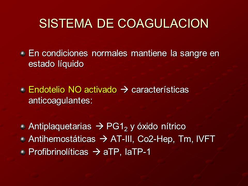 SISTEMA DE COAGULACION En condiciones normales mantiene la sangre en estado líquido Endotelio NO activado características anticoagulantes: Antiplaquet
