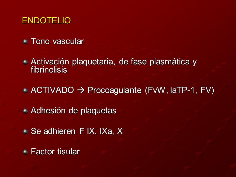 ENDOTELIO Tono vascular Activación plaquetaria, de fase plasmática y fibrinolisis ACTIVADO Procoagulante (FvW, IaTP-1, FV) Adhesión de plaquetas Se ad