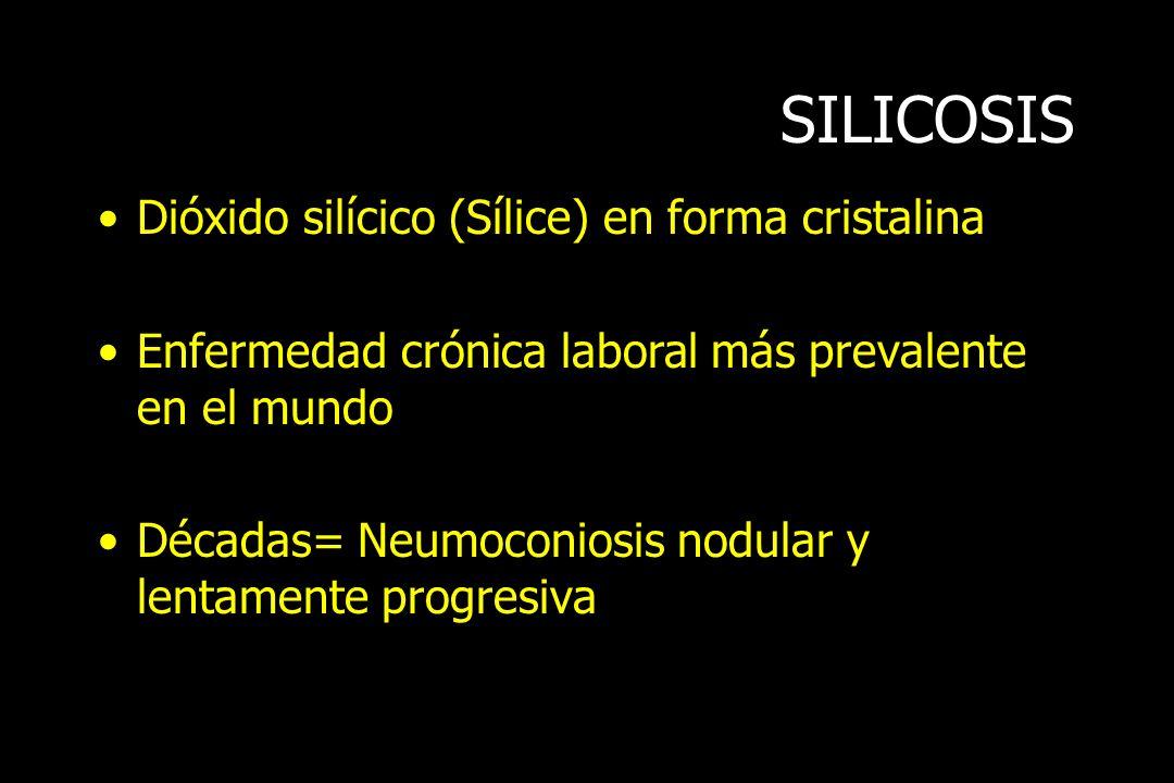 SILICOSIS Dióxido silícico (Sílice) en forma cristalina Enfermedad crónica laboral más prevalente en el mundo Décadas= Neumoconiosis nodular y lentame