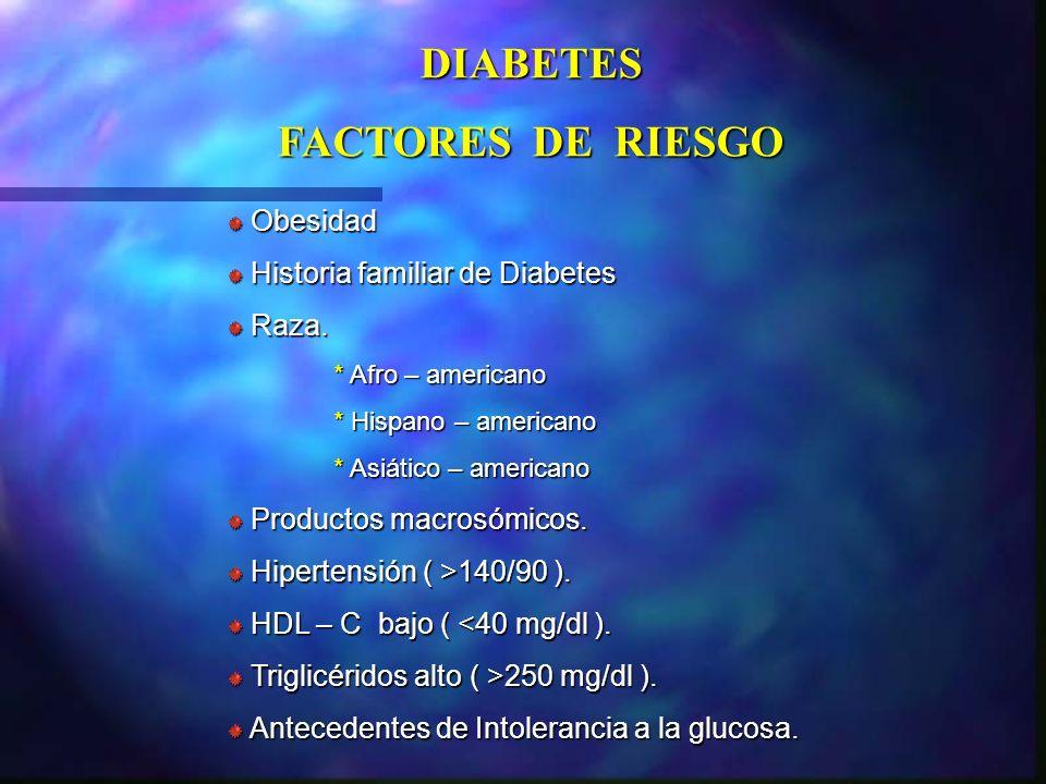 Obesidad Obesidad Historia familiar de Diabetes Historia familiar de Diabetes Raza. Raza. * Afro – americano * Hispano – americano * Asiático – americ
