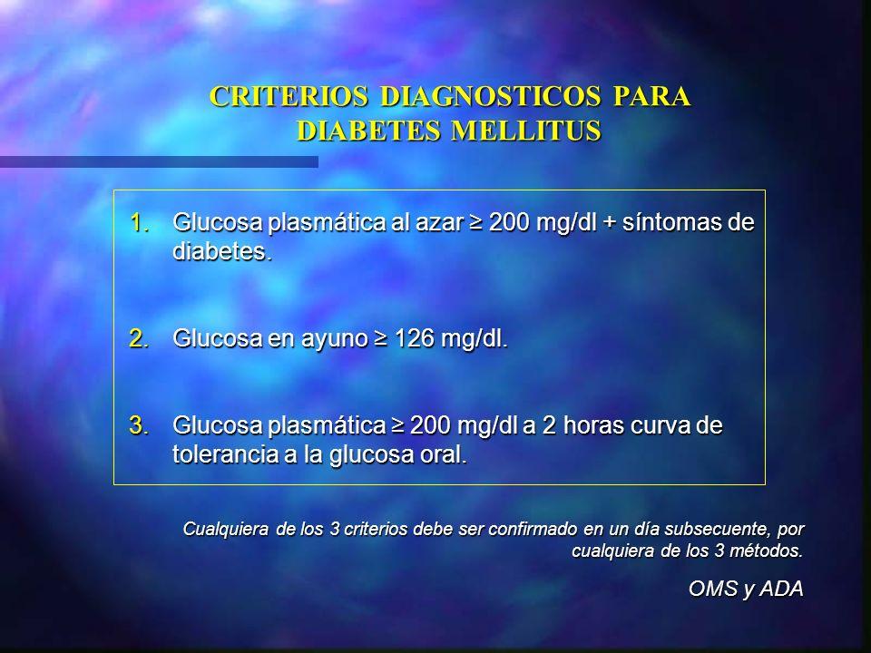 1.Glucosa plasmática al azar 200 mg/dl + síntomas de diabetes. 2.Glucosa en ayuno 126 mg/dl. 3.Glucosa plasmática 200 mg/dl a 2 horas curva de toleran