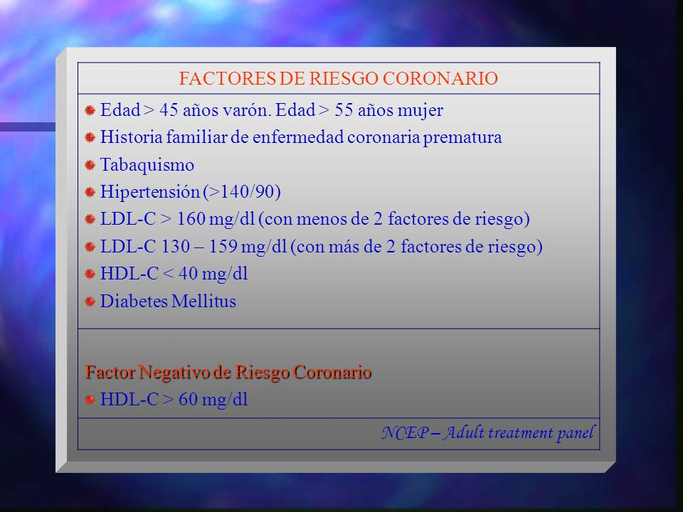 FACTORES DE RIESGO CORONARIO Edad > 45 años varón. Edad > 55 años mujer Historia familiar de enfermedad coronaria prematura Tabaquismo Hipertensión (>