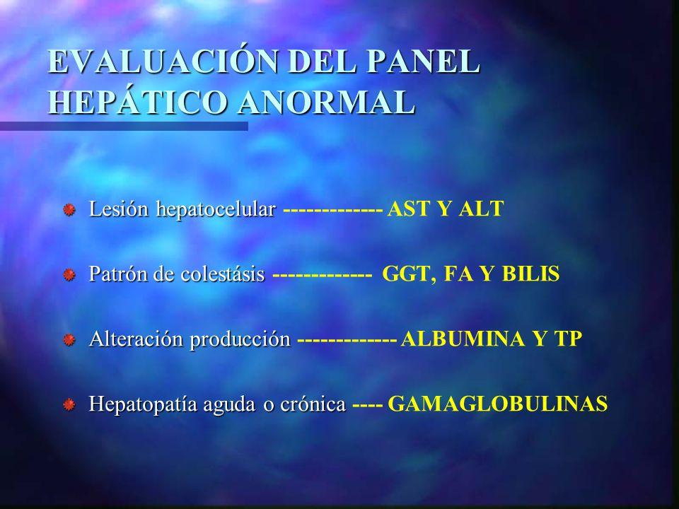 EVALUACIÓN DEL PANEL HEPÁTICO ANORMAL Lesión hepatocelular Lesión hepatocelular ------------- AST Y ALT Patrón de colestásis Patrón de colestásis ----