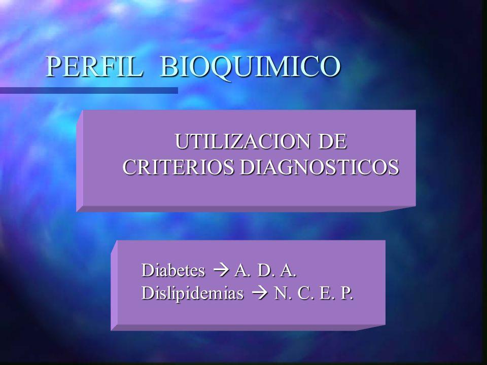 PERFIL BIOQUIMICO UTILIZACION DE CRITERIOS DIAGNOSTICOS Diabetes A. D. A. Dislipidemias N. C. E. P.