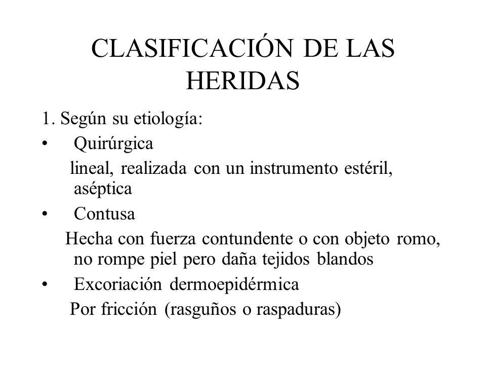 CLASIFICACIÓN DE LAS HERIDAS 1. Según su etiología: Quirúrgica lineal, realizada con un instrumento estéril, aséptica Contusa Hecha con fuerza contund