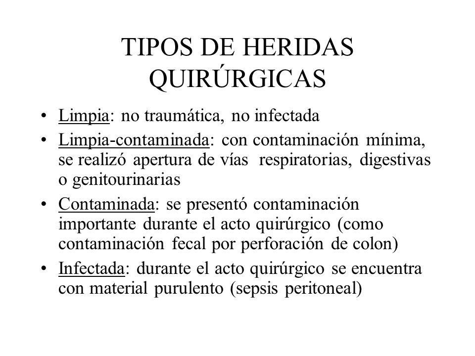 TIPOS DE HERIDAS QUIRÚRGICAS Limpia: no traumática, no infectada Limpia-contaminada: con contaminación mínima, se realizó apertura de vías respiratori
