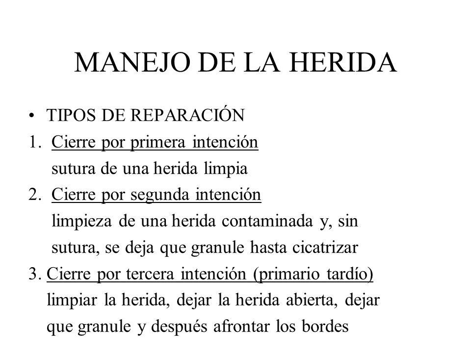 MANEJO DE LA HERIDA TIPOS DE REPARACIÓN 1. Cierre por primera intención sutura de una herida limpia 2. Cierre por segunda intención limpieza de una he