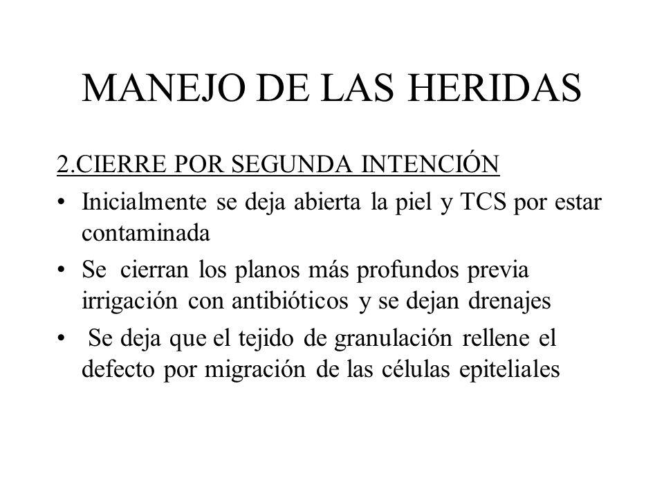 MANEJO DE LAS HERIDAS 2.CIERRE POR SEGUNDA INTENCIÓN Inicialmente se deja abierta la piel y TCS por estar contaminada Se cierran los planos más profun
