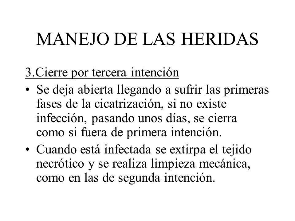 MANEJO DE LAS HERIDAS 3.Cierre por tercera intención Se deja abierta llegando a sufrir las primeras fases de la cicatrización, si no existe infección,