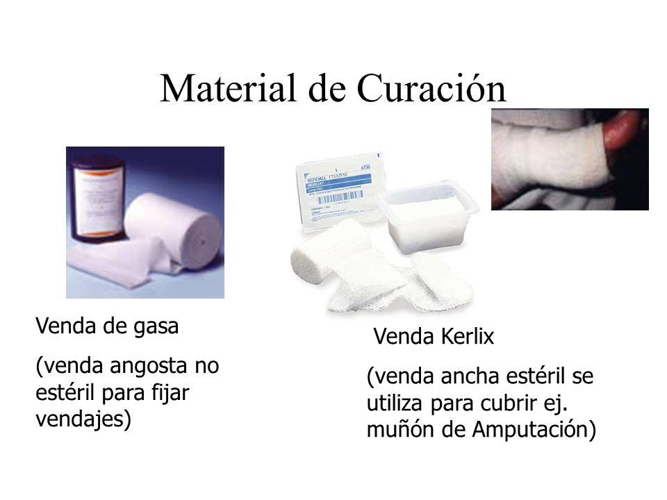 Material de Curación Venda Kerlix (venda ancha estéril se utiliza para cubrir ej. muñón de Amputación) Venda de gasa (venda angosta no estéril para fi