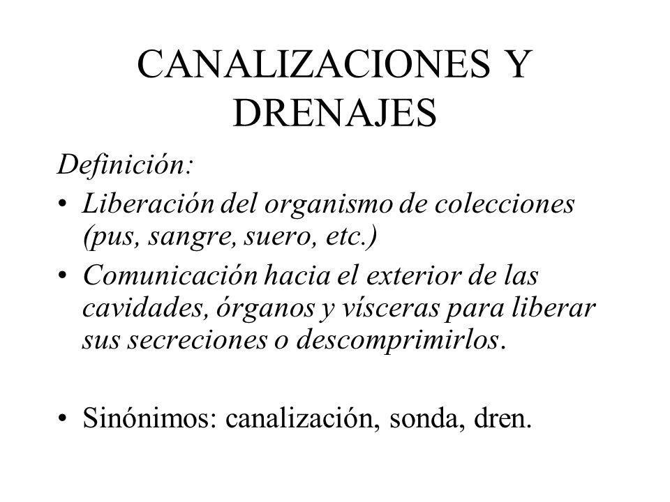 CANALIZACIONES Y DRENAJES Definición: Liberación del organismo de colecciones (pus, sangre, suero, etc.) Comunicación hacia el exterior de las cavidad