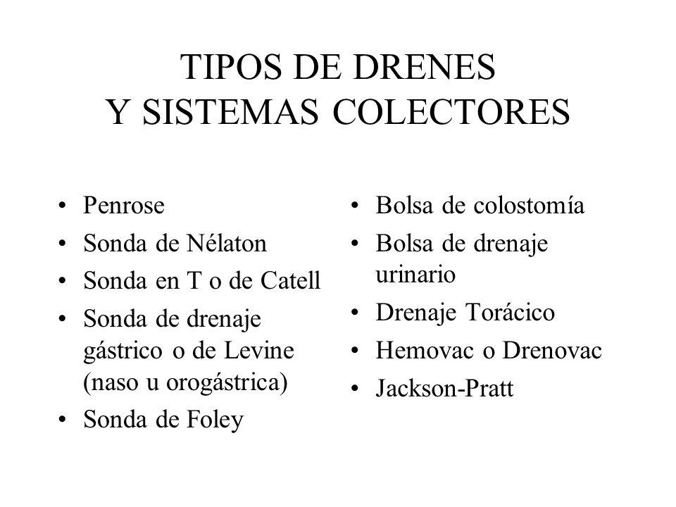 TIPOS DE DRENES Y SISTEMAS COLECTORES Penrose Sonda de Nélaton Sonda en T o de Catell Sonda de drenaje gástrico o de Levine (naso u orogástrica) Sonda