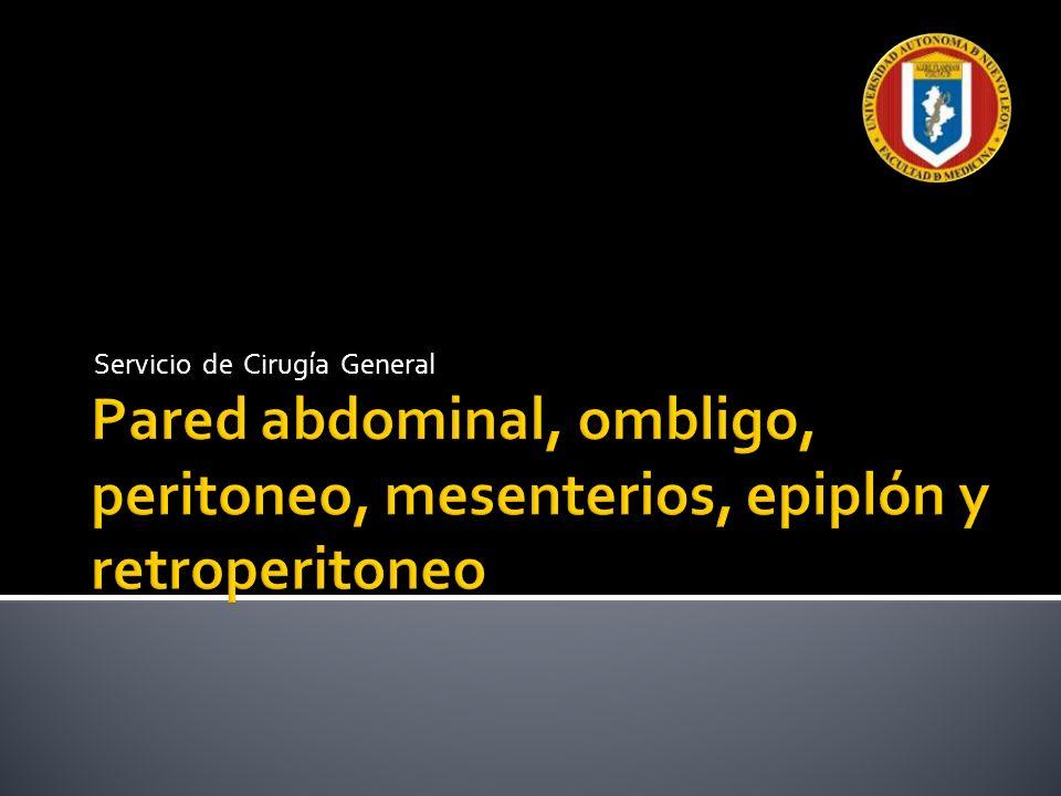 Anatomía; espacio preperitoneal y peritoneo Situado entre fascia transversal y peritoneo parietal, contiene: Arteria y vena epigástricas inferiores Ligamentos umbilicales mediales Ligamento umbilical medio Ligamento falciforme del hígado Peritoneo parietal, capa más interna de pared abdominal