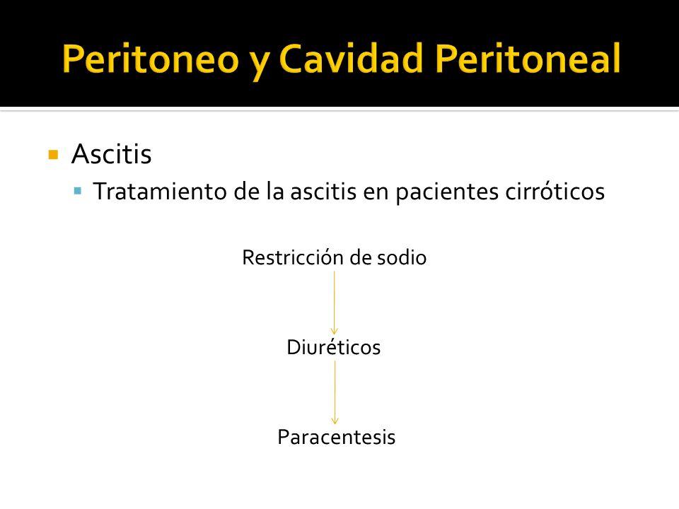 Ascitis Tratamiento de la ascitis en pacientes cirróticos Restricción de sodio Diuréticos Paracentesis