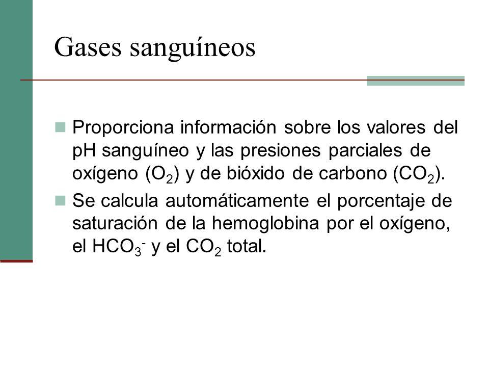 Gases sanguíneos Proporciona información sobre los valores del pH sanguíneo y las presiones parciales de oxígeno (O 2 ) y de bióxido de carbono (CO 2
