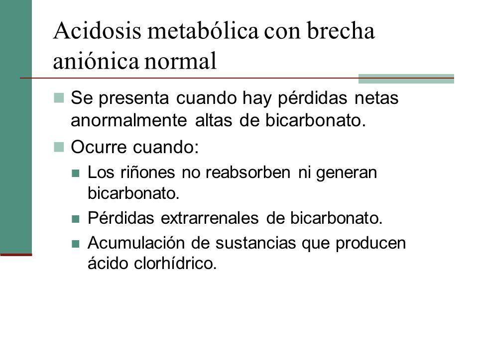 Acidosis metabólica con brecha aniónica normal Se presenta cuando hay pérdidas netas anormalmente altas de bicarbonato. Ocurre cuando: Los riñones no