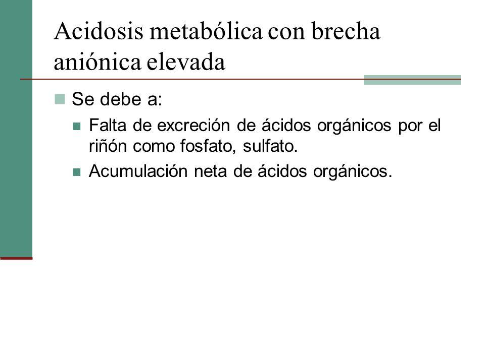 Acidosis metabólica con brecha aniónica elevada Se debe a: Falta de excreción de ácidos orgánicos por el riñón como fosfato, sulfato. Acumulación neta