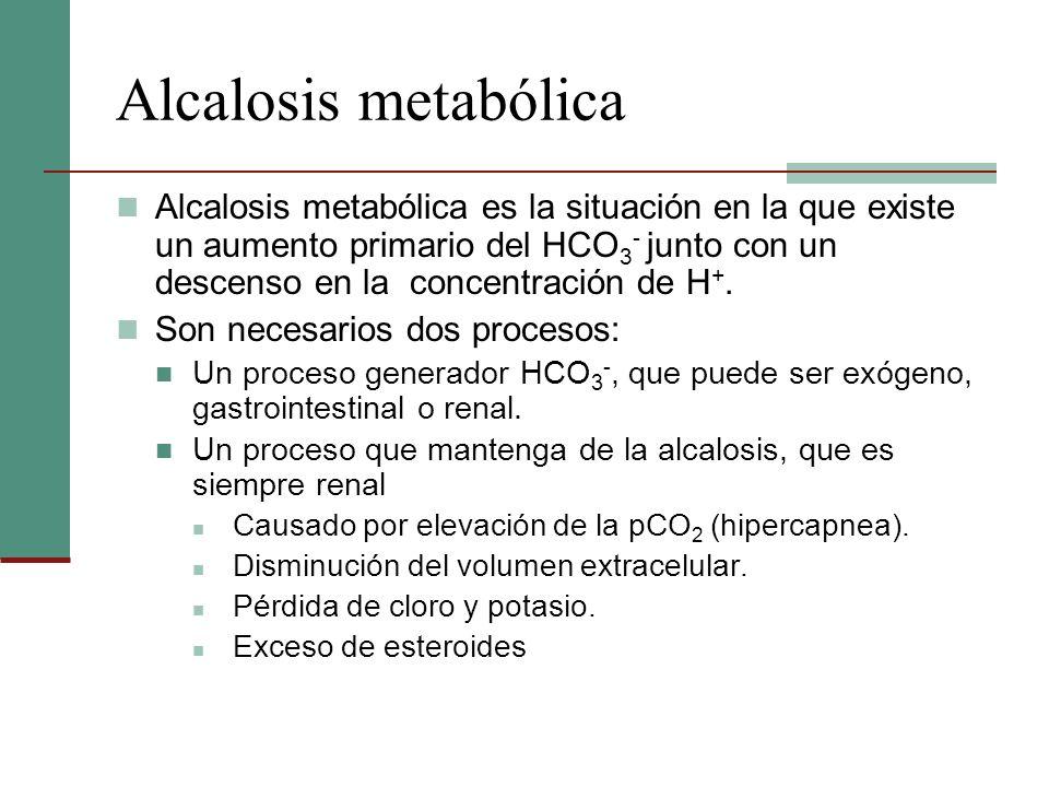 Alcalosis metabólica Alcalosis metabólica es la situación en la que existe un aumento primario del HCO 3 - junto con un descenso en la concentración d