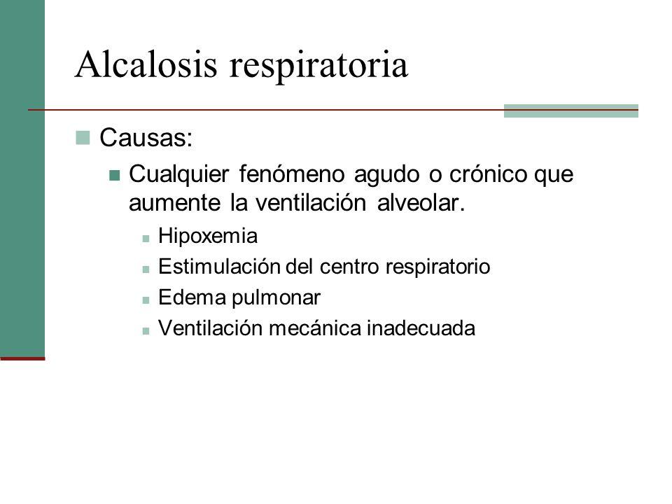 Alcalosis respiratoria Causas: Cualquier fenómeno agudo o crónico que aumente la ventilación alveolar. Hipoxemia Estimulación del centro respiratorio