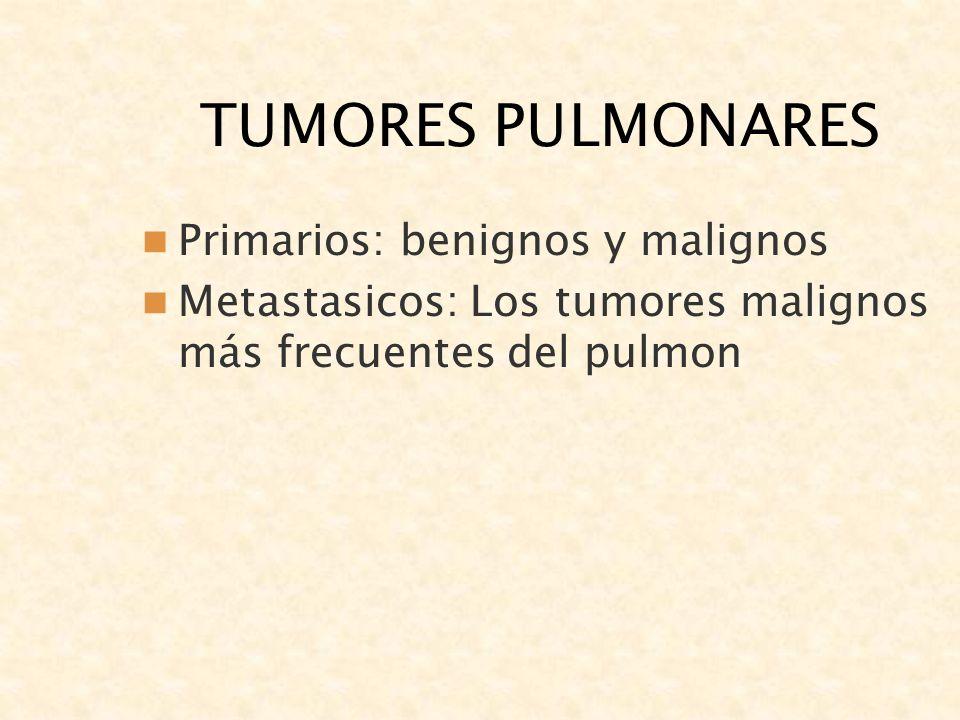 TUMORES PULMONARES Primarios: benignos y malignos Metastasicos: Los tumores malignos más frecuentes del pulmon