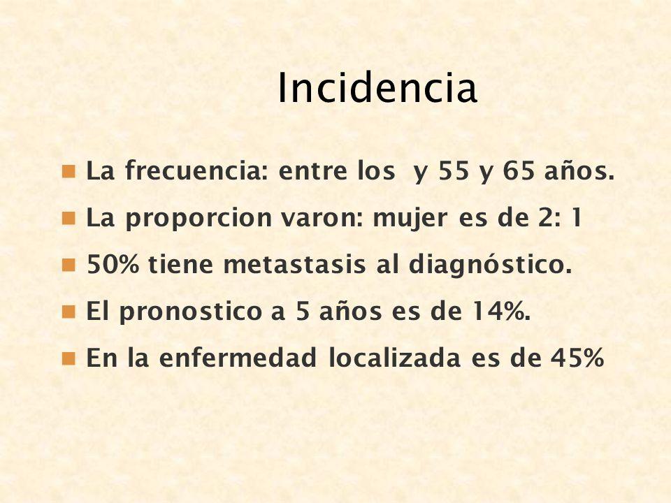 Incidencia La frecuencia: entre los y 55 y 65 años. La proporcion varon: mujer es de 2: 1 50% tiene metastasis al diagnóstico. El pronostico a 5 años