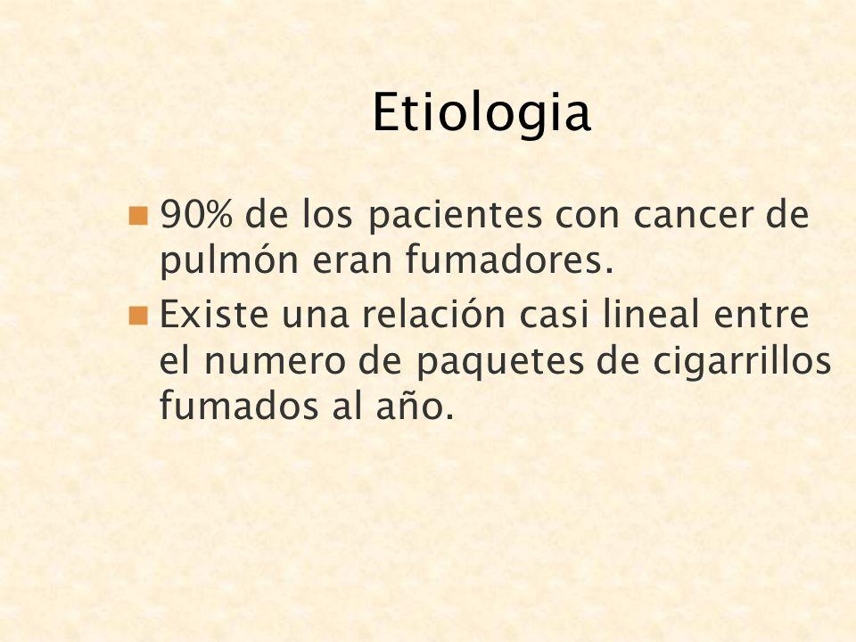 Etiologia 90% de los pacientes con cancer de pulmón eran fumadores. Existe una relación casi lineal entre el numero de paquetes de cigarrillos fumados