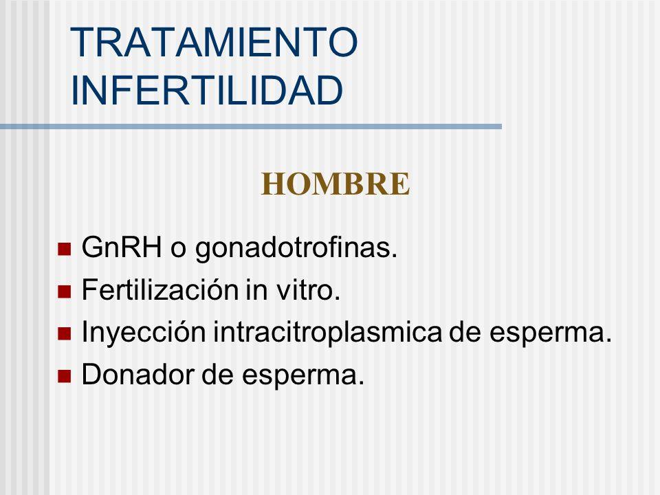 TRATAMIENTO INFERTILIDAD GnRH o gonadotrofinas. Fertilización in vitro. Inyección intracitroplasmica de esperma. Donador de esperma. HOMBRE