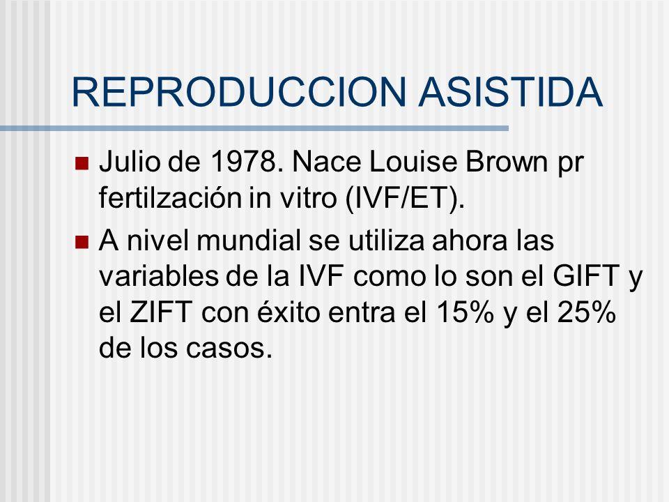 REPRODUCCION ASISTIDA Julio de 1978. Nace Louise Brown pr fertilzación in vitro (IVF/ET). A nivel mundial se utiliza ahora las variables de la IVF com