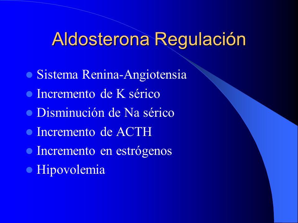 Aldosterona Regulación Sistema Renina-Angiotensia Incremento de K sérico Disminución de Na sérico Incremento de ACTH Incremento en estrógenos Hipovole