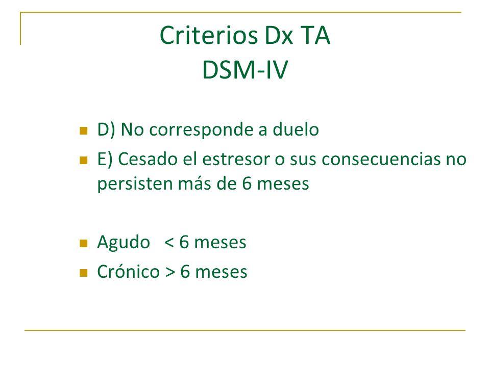 Criterios Dx TA DSM-IV D) No corresponde a duelo E) Cesado el estresor o sus consecuencias no persisten más de 6 meses Agudo < 6 meses Crónico > 6 mes