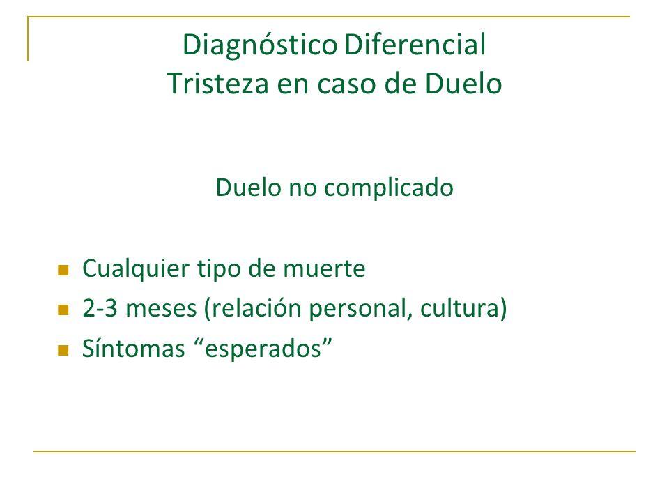 Diagnóstico Diferencial Tristeza en caso de Duelo Duelo no complicado Cualquier tipo de muerte 2-3 meses (relación personal, cultura) Síntomas esperad
