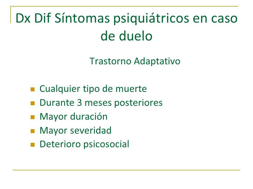 Dx Dif Síntomas psiquiátricos en caso de duelo Trastorno Adaptativo Cualquier tipo de muerte Durante 3 meses posteriores Mayor duración Mayor severida